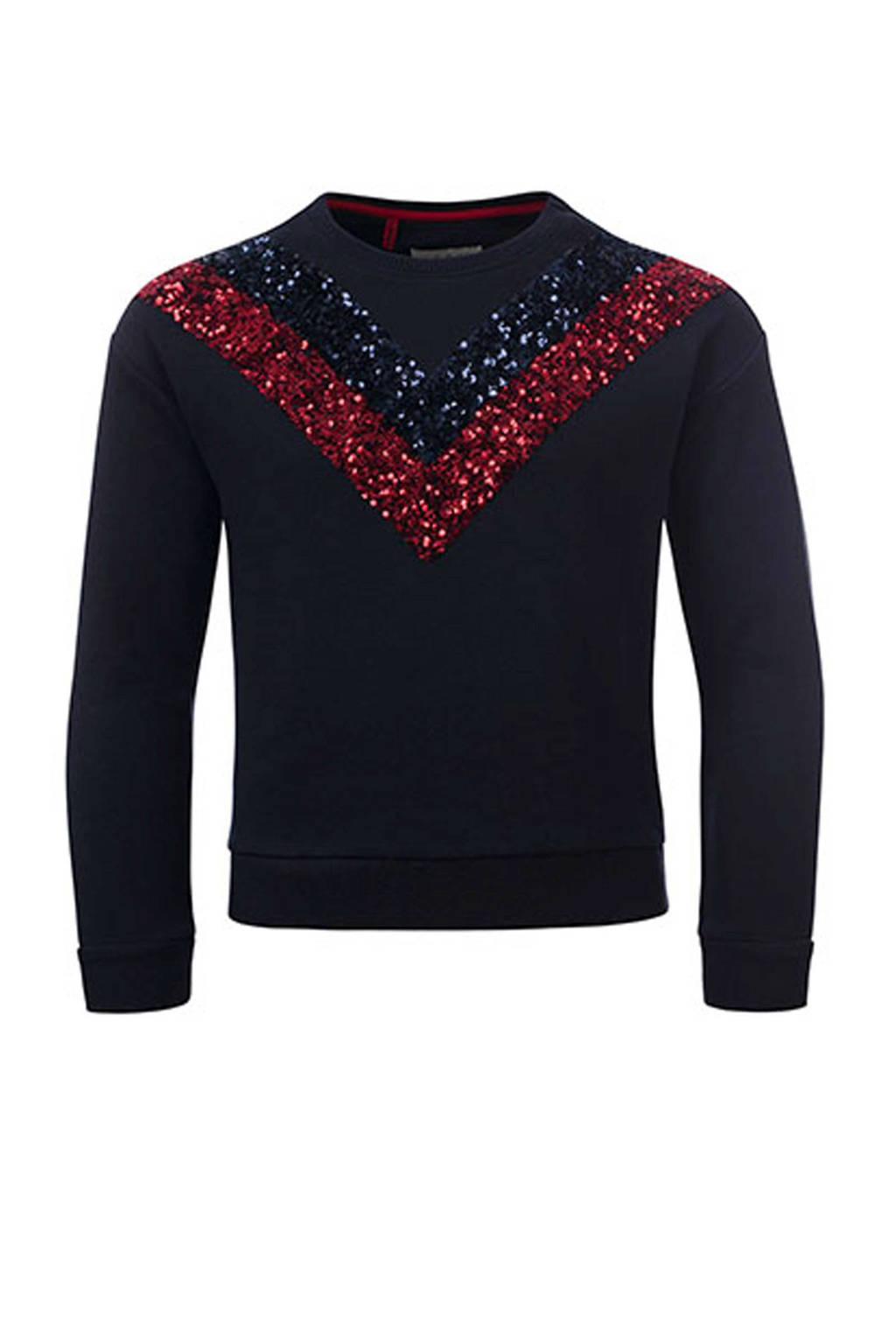 LOOXS sweater met pailletten marine, Marine