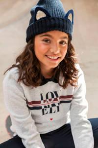LOOXS sweater met tekst lichtgrijs melange, Lichtgrijs melange