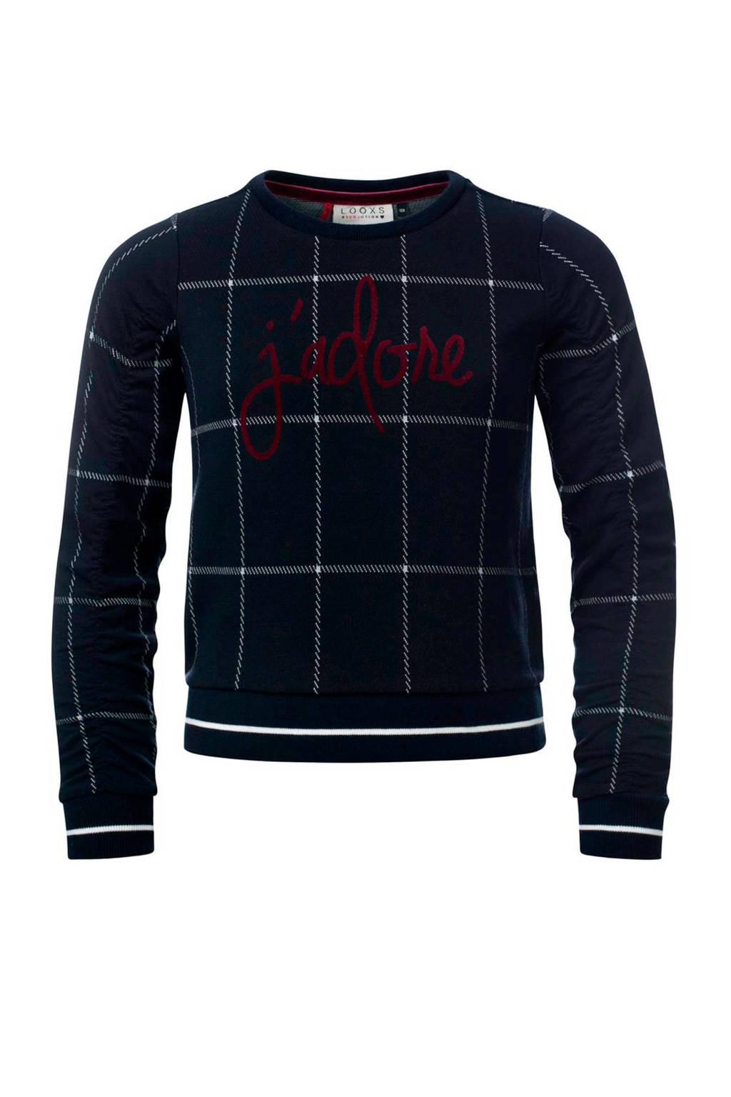 LOOXS geruite sweater marine, Marine