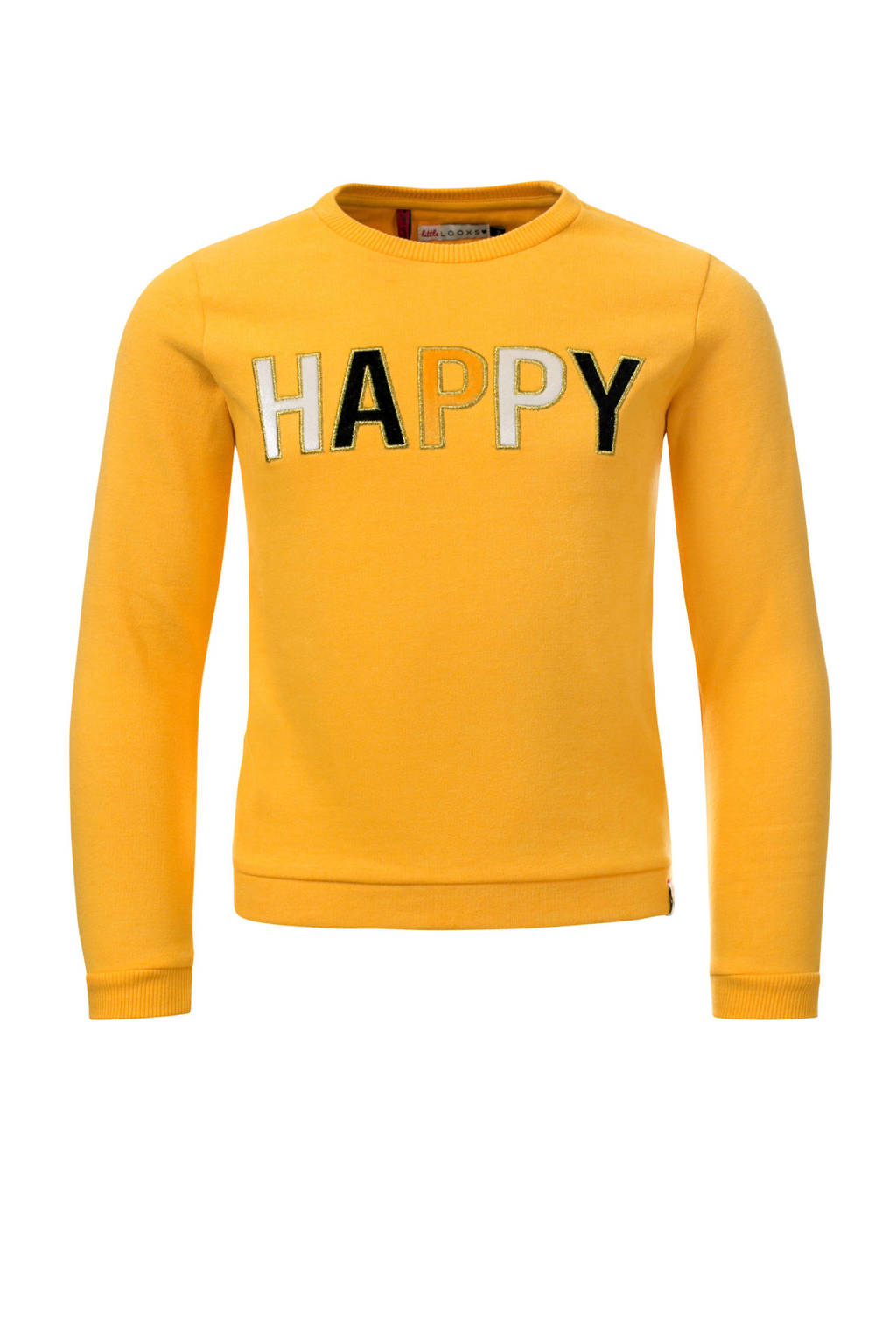 LOOXS Little sweater met tekst geel, Geel