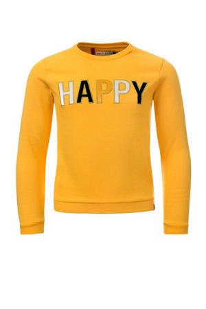 Little sweater met tekst geel