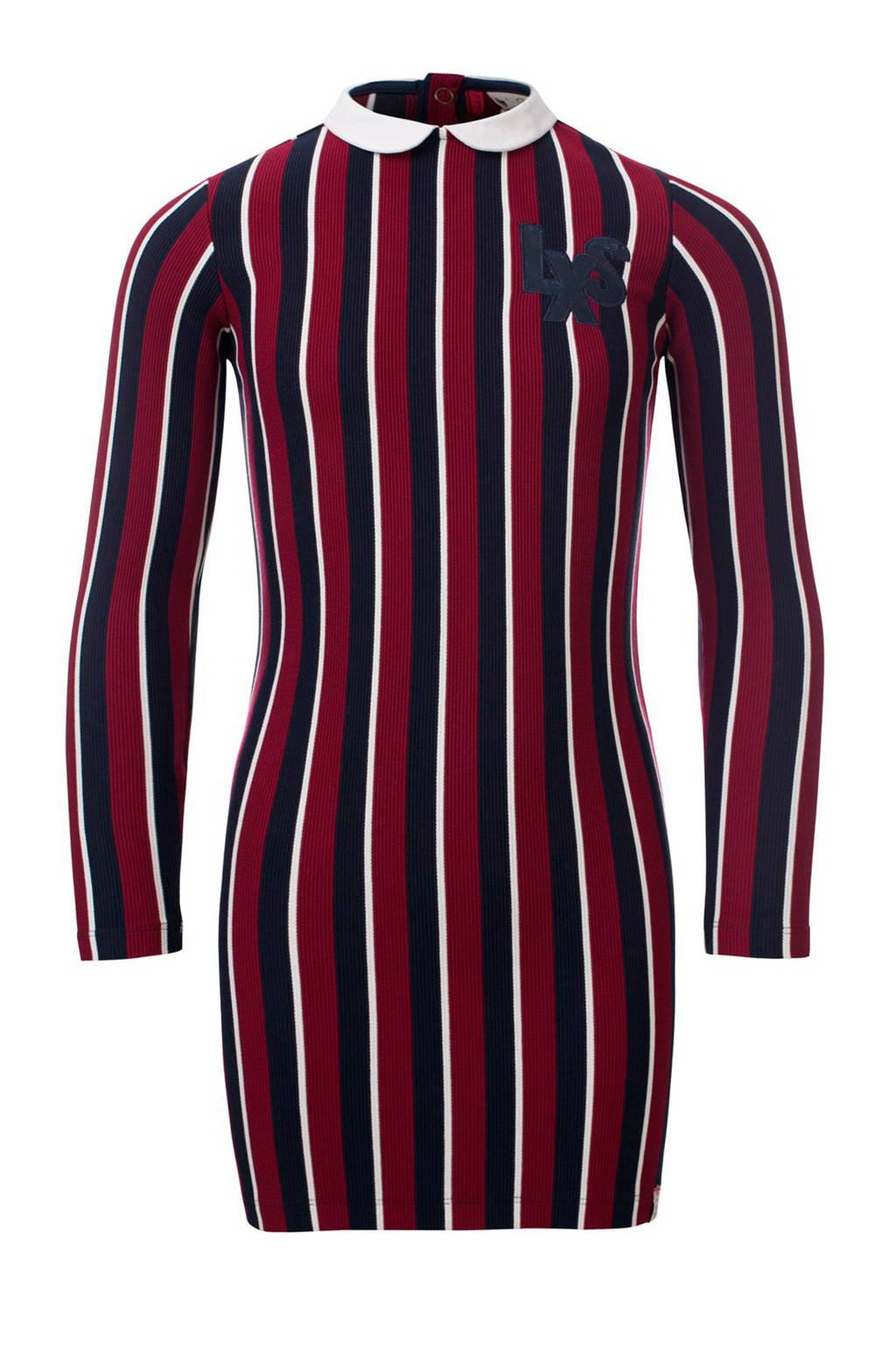LOOXS gestreepte slim fit jurk donkerrood/donkerblauw/wit, Donkerrood/donkerblauw/wit
