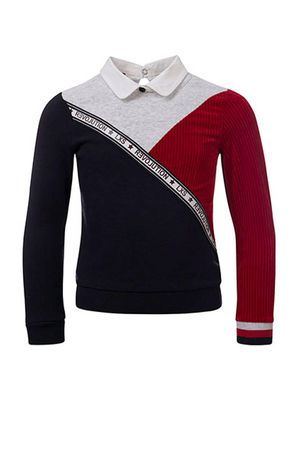LOOXS fluwelen sweater met kraagje, Rood/ licht grijs melange/ zwart