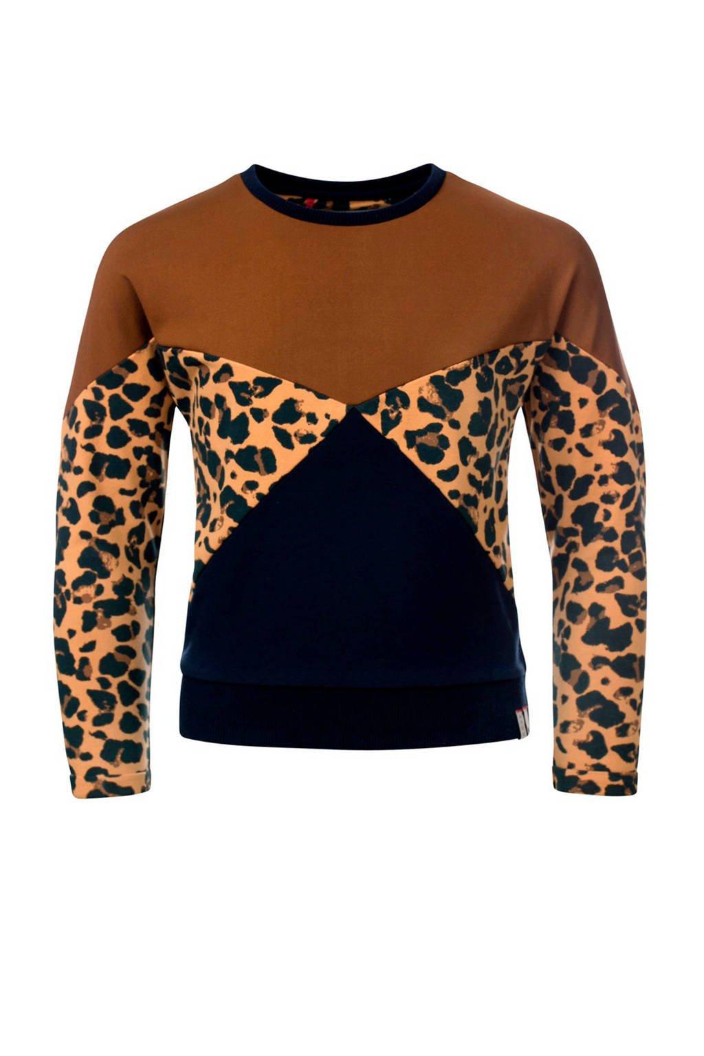 LOOXS sweater met all over print bruin/marine, Bruin/marine