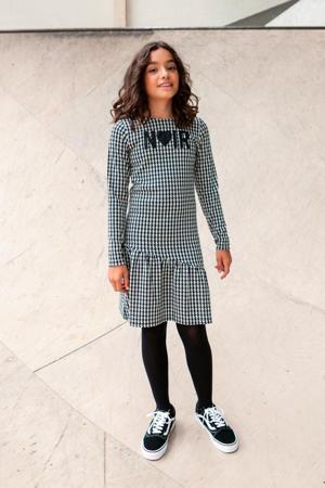 jurk met pied-de-poule en 3D applicatie zwart/wit