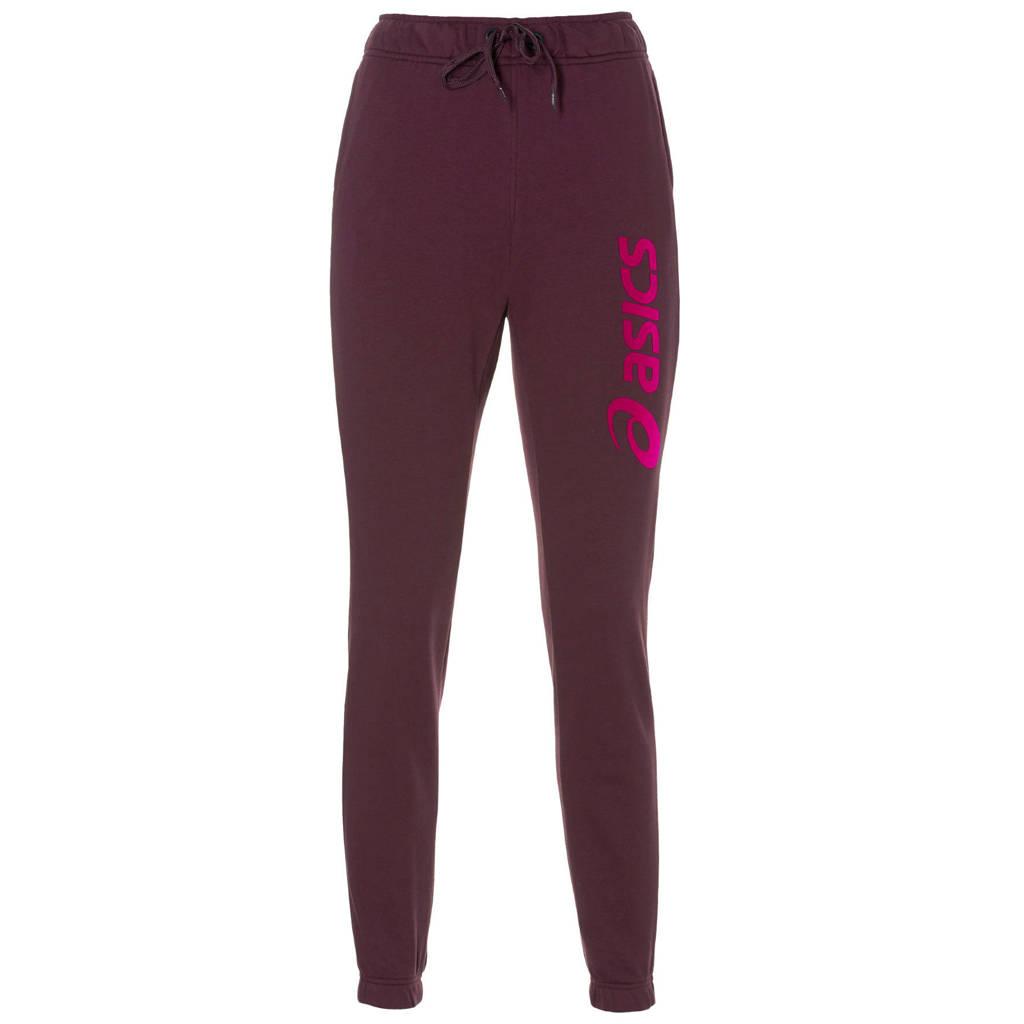 ASICS regular fit joggingbroek met printopdruk bordeauxrood/roze, Bordeauxrood/roze