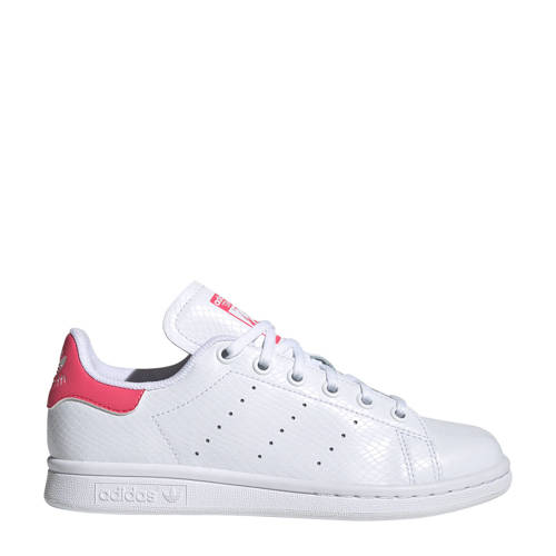 adidas Originals Stan Smith J leren sneakers wit/r