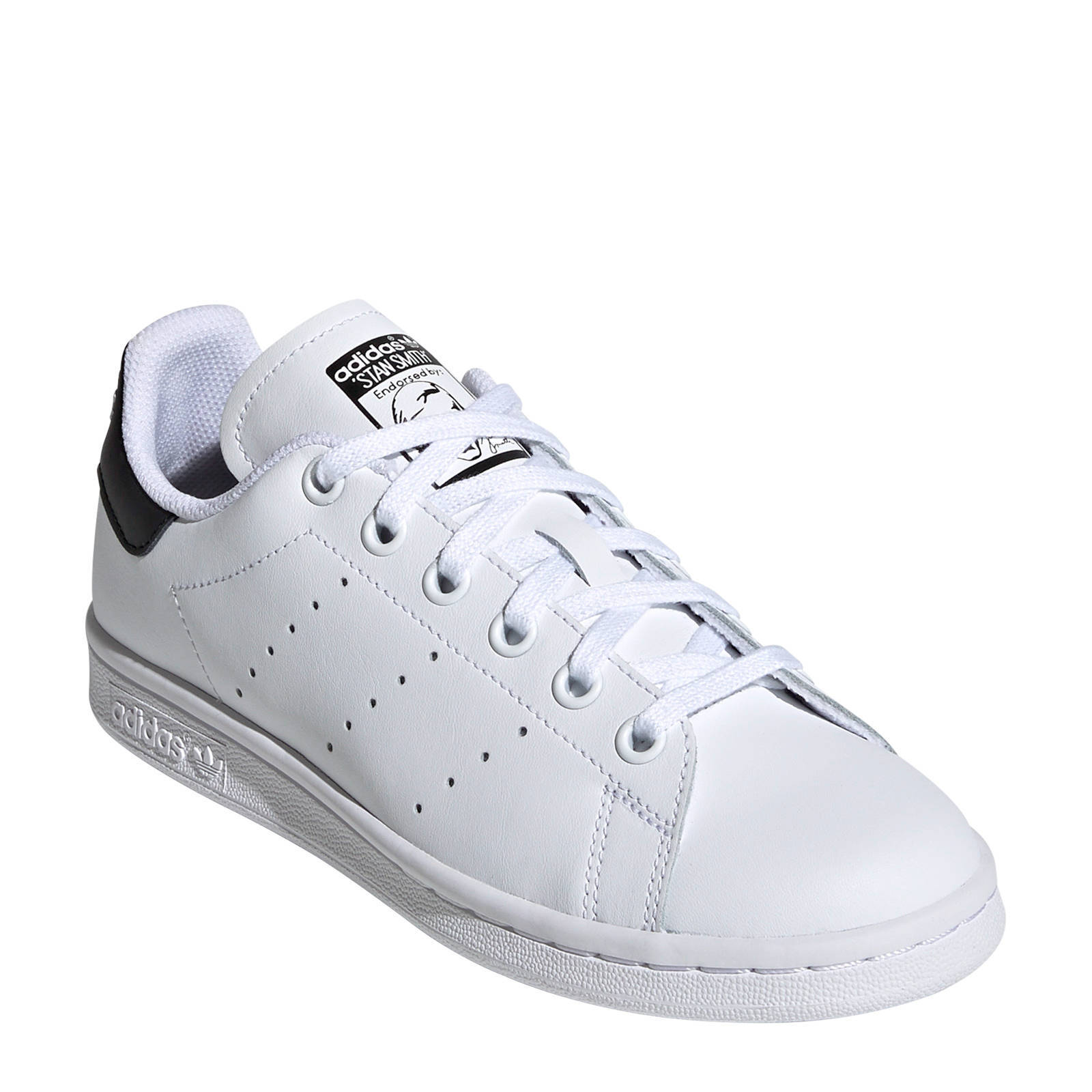 adidas Originals Stan Smith J leren sneakers wit/zwart | wehkamp