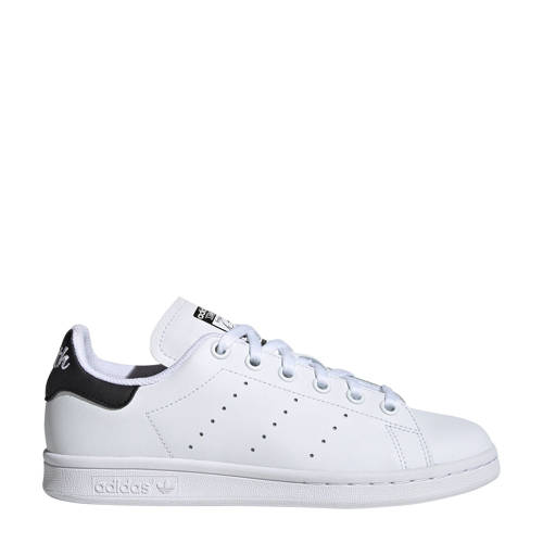 adidas originals Stan Smith J leren sneakers wit-zwart
