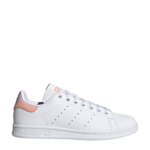 adidas originals Stan Smith J leren sneakers wit-lichtroze
