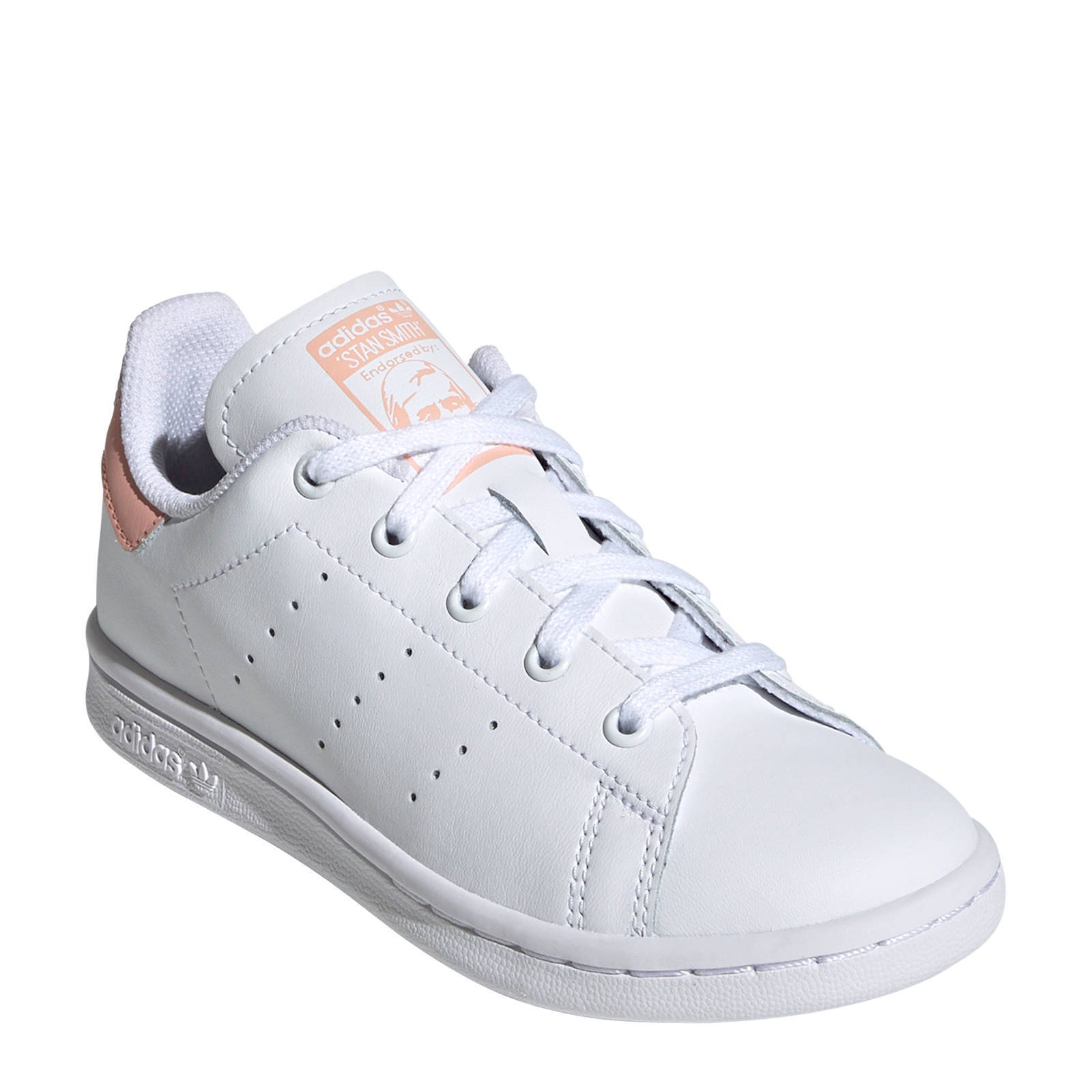 adidas Originals Stan Smith C leren sneakers wit/lichtroze ...