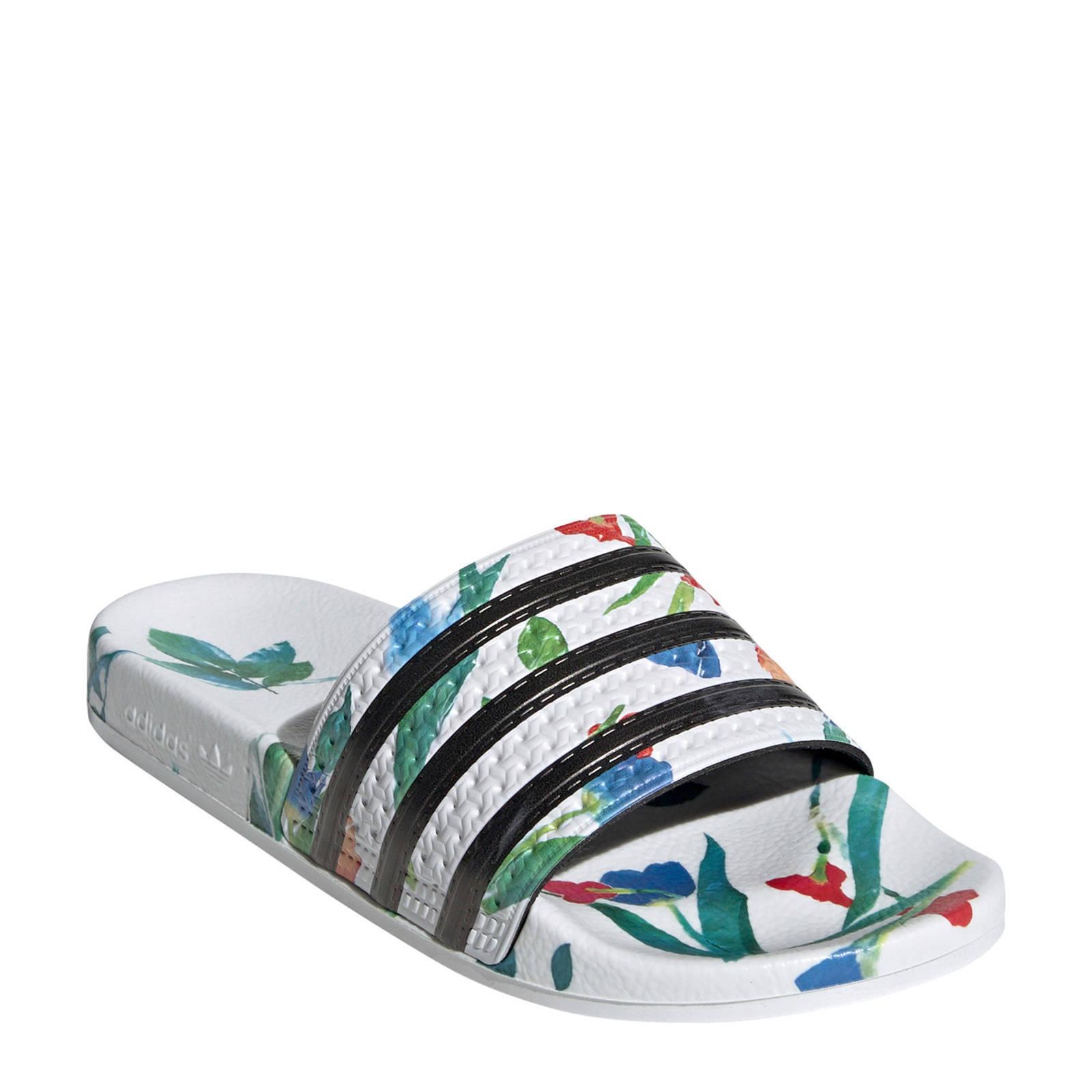 adidas Originals adilette w badslippers wit/zwart | wehkamp