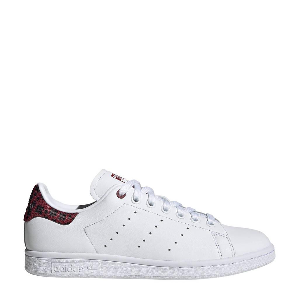 adidas Originals Stan Smith  leren sneakers wit/donkerrood print, Wit/donkerrood print