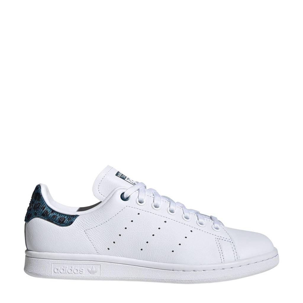 adidas Originals Stan Smith  leren sneakers wit/blauw print, Wit/blauw print