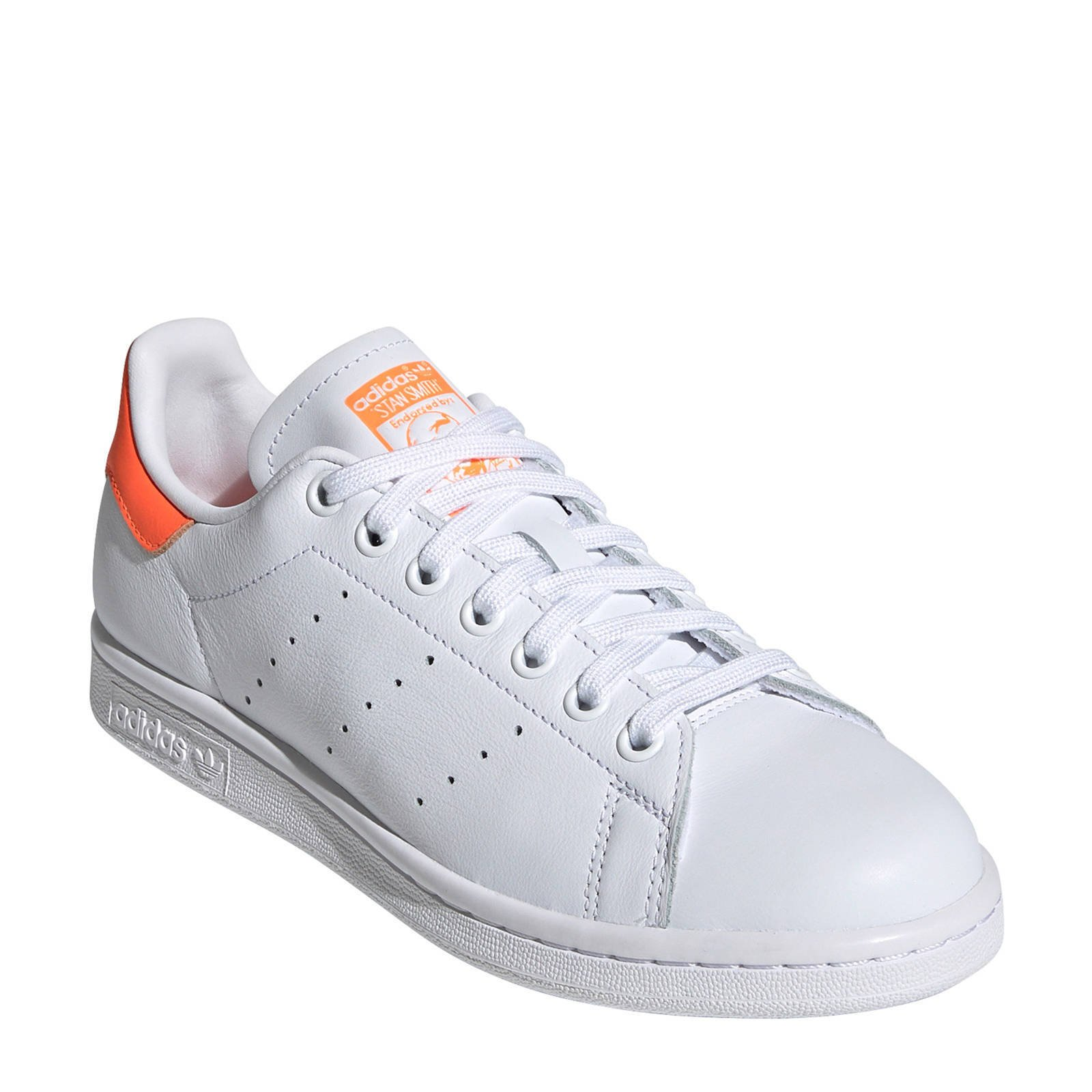 adidas Originals Stan Smith leren sneakers witoranje | wehkamp