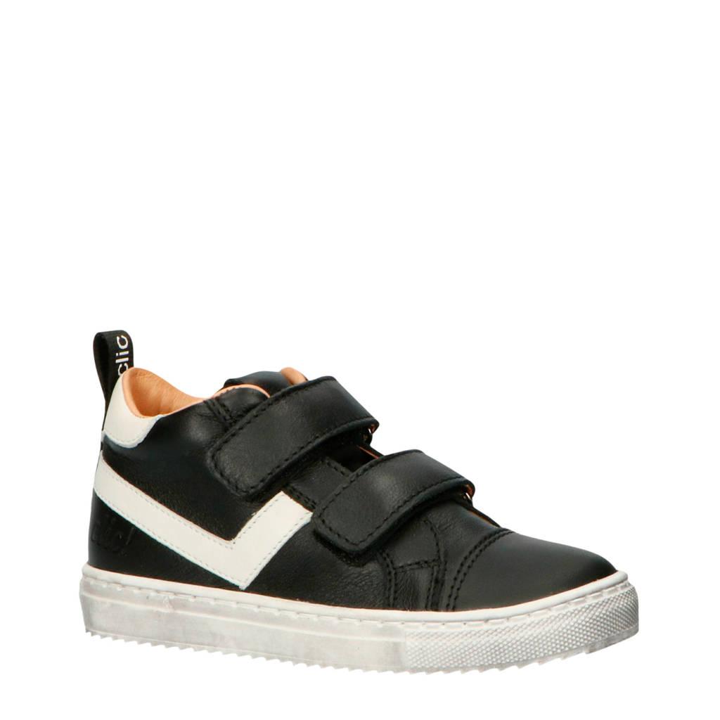 Clic!   CL-9863 leren sneakers zwart/wit, Zwart/wit