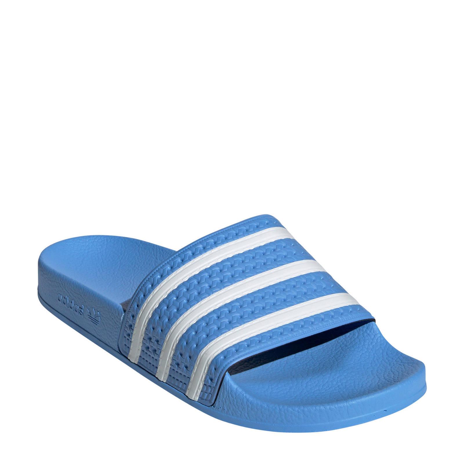 adidas originals adilette badslippers blauw | wehkamp