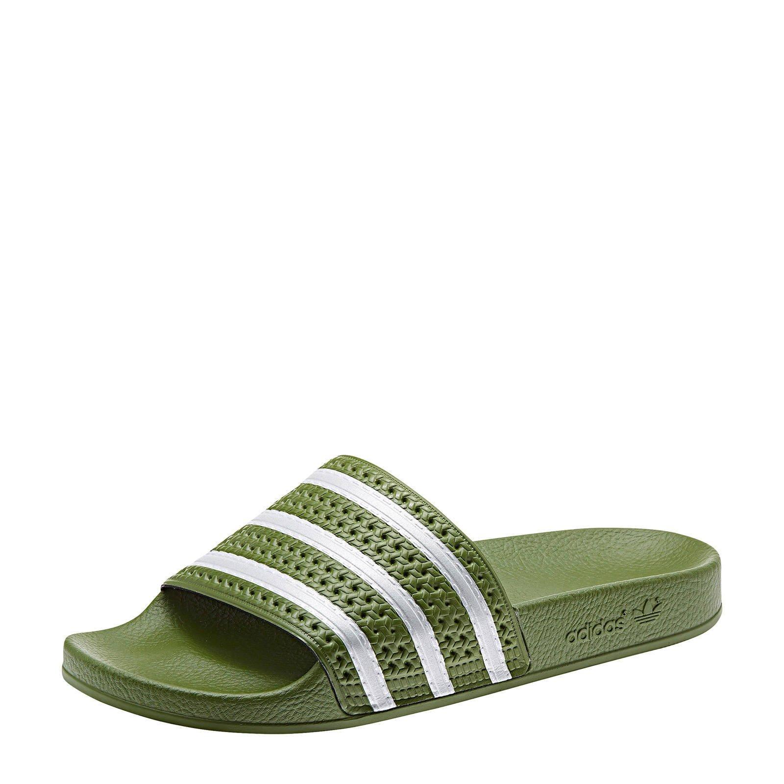 adidas Originals Adilette badslippers olijfgroen | wehkamp