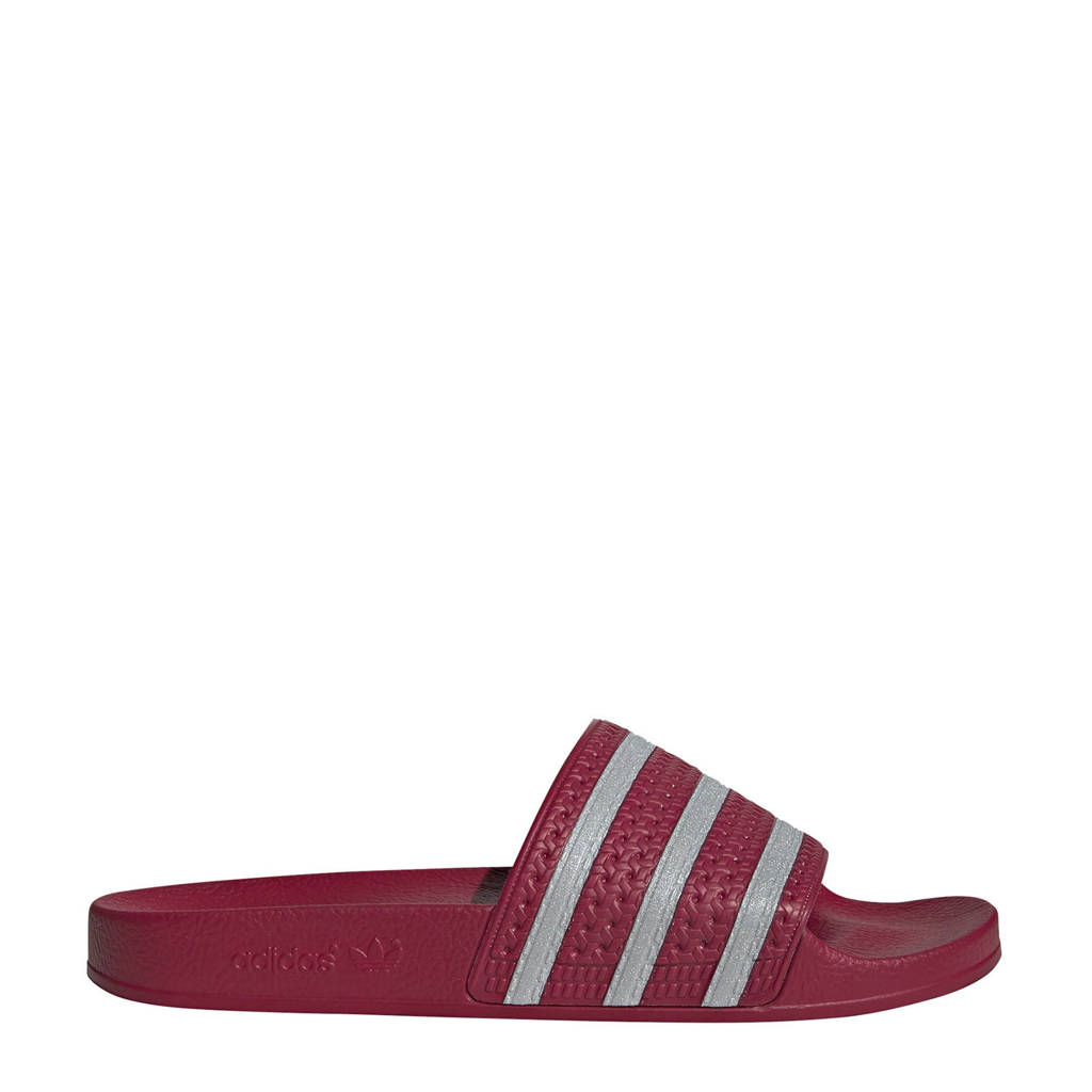 adidas Originals   Adilette badslippers bordeauxrood, Donkerrood/grijs
