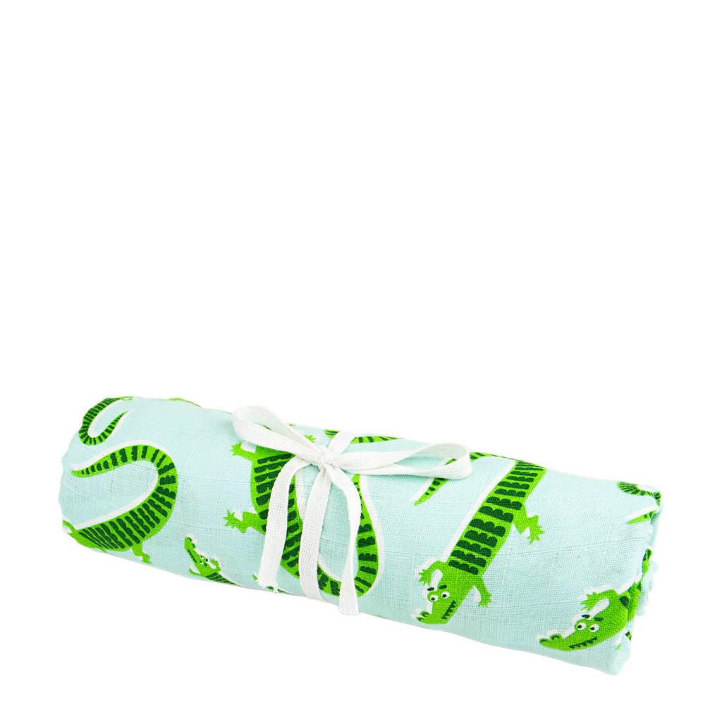 Briljant Baby hydrofiel baby laken krokodillen print 140X200 cm, Lichtblauw/groen