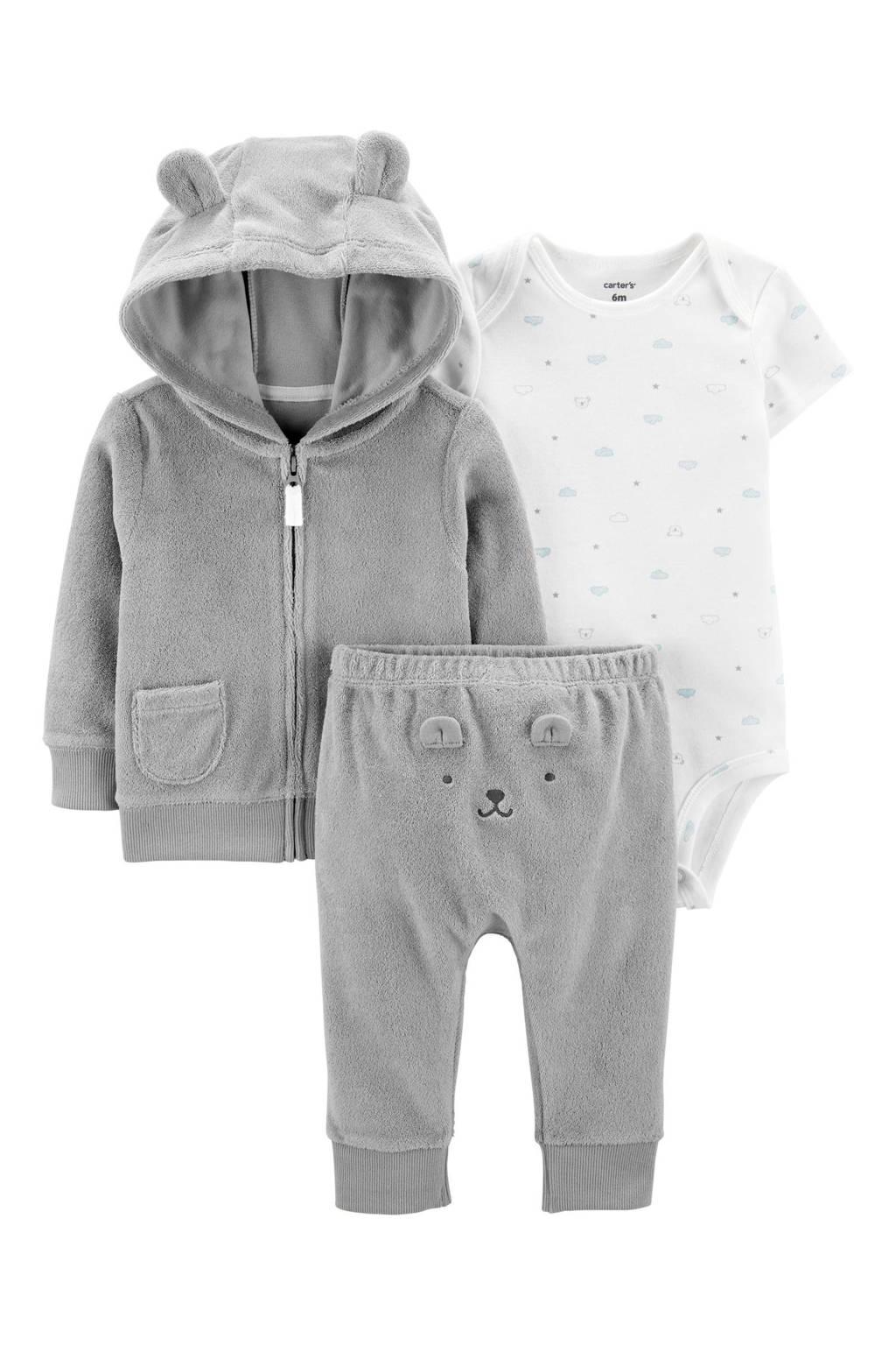 Carter's baby velours vest + broek + romper, Grijs
