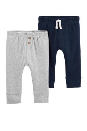 baby broek donkerblauw/grijs - set van 2