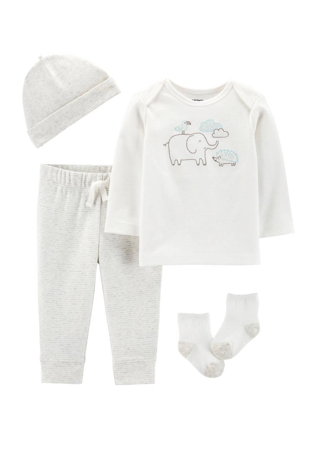 Carter's baby longsleeve + broek + muts + sokken, Lichtgrijs