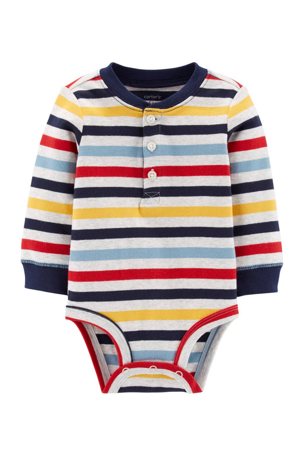 Carter's baby gestreepte romper grijs, Grijs/rood/blauw