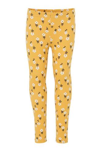gebloemde legging geel
