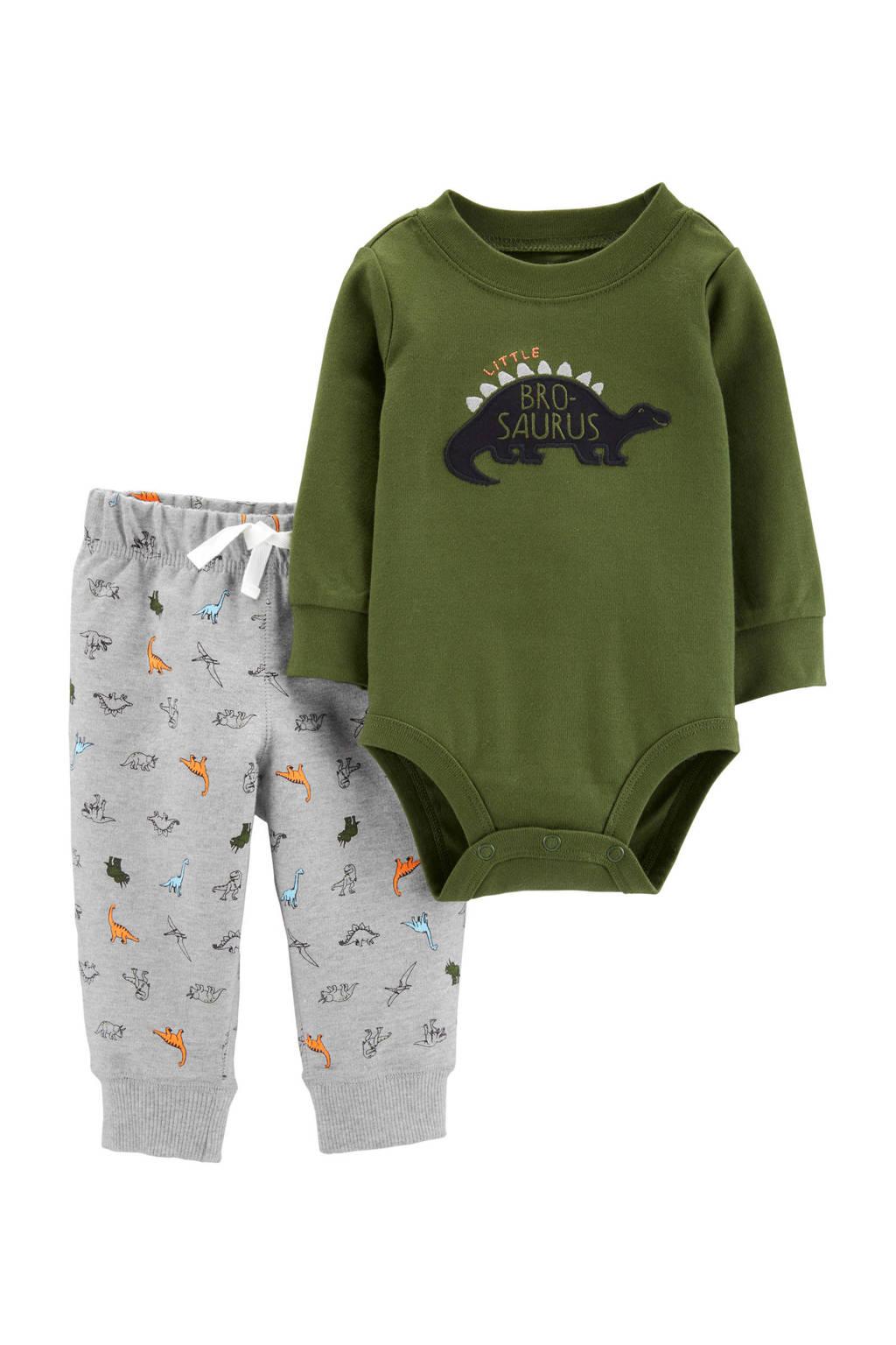 Carter's baby romper + broek, Olijfgroen