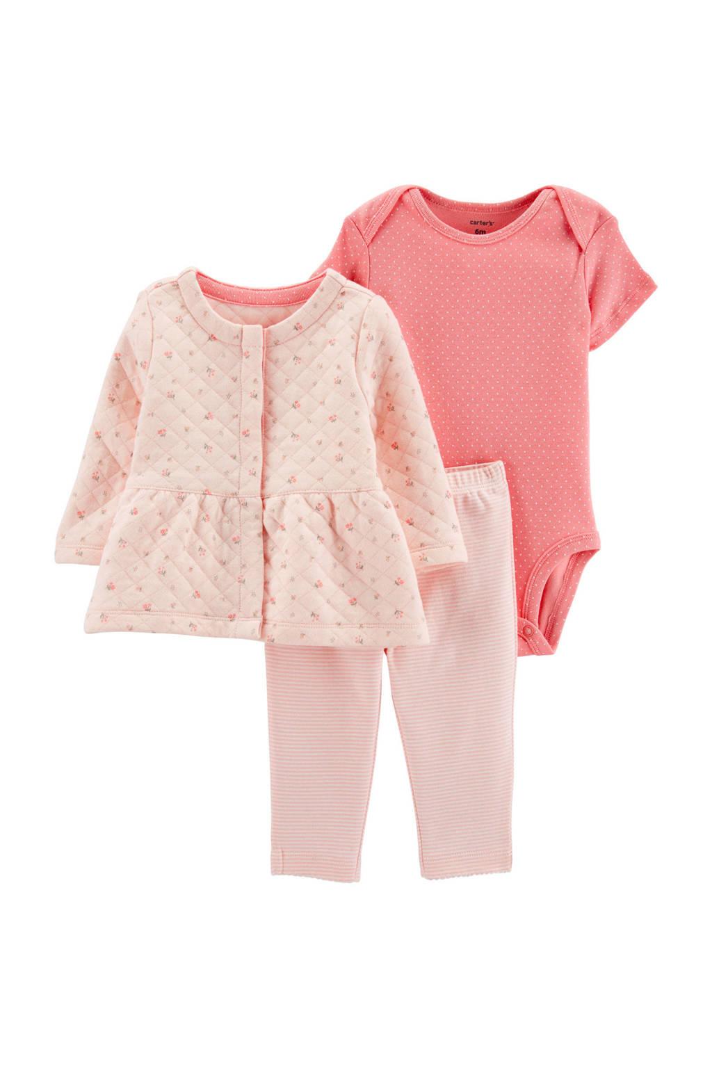 Carter's baby vest + broek + romper, Roze