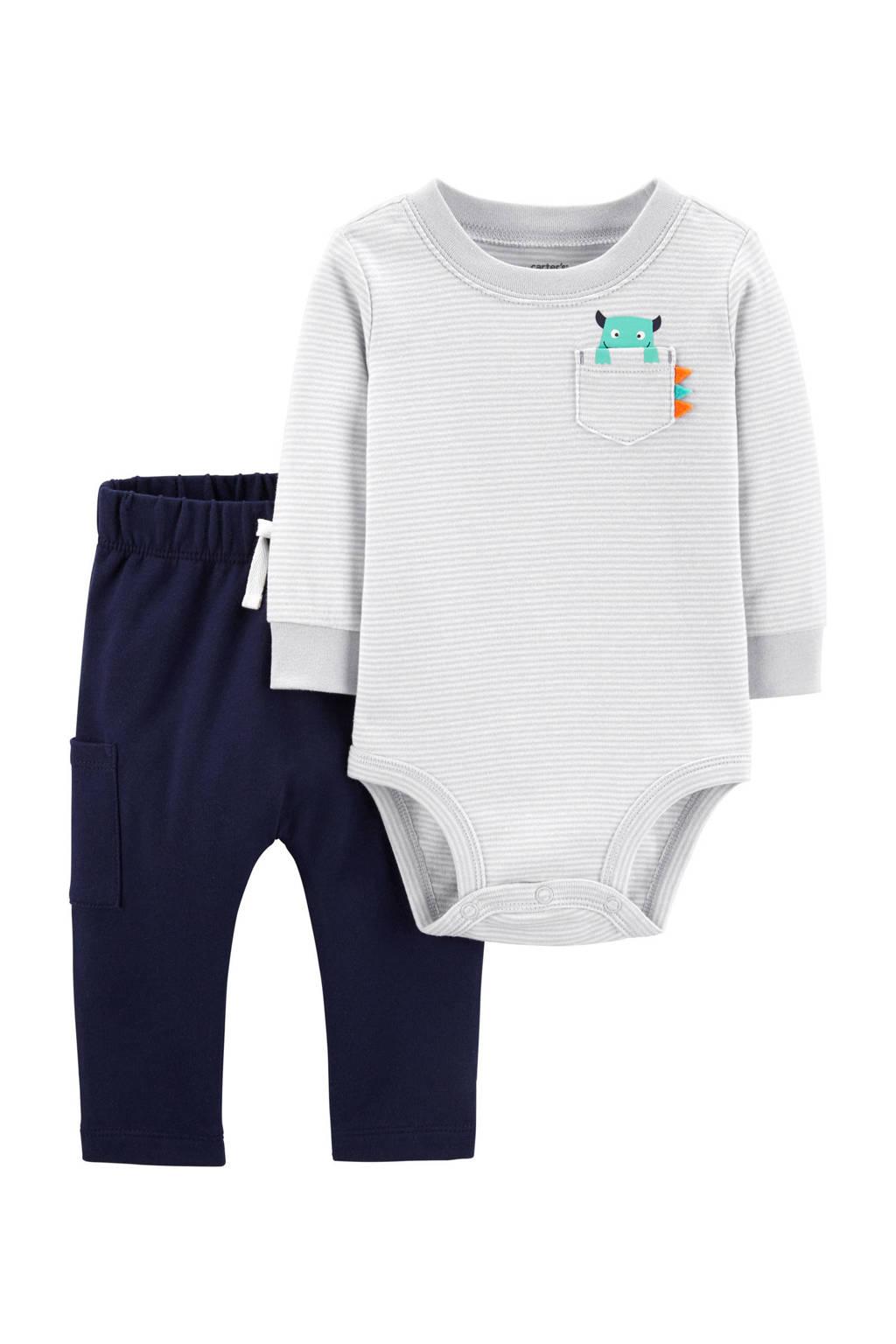 Carter's baby romper + broek, Grijs/wit/blauw