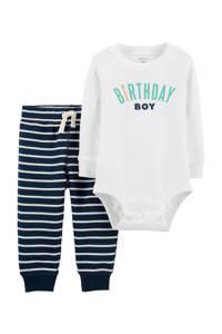Carter's baby romper + broek, Ecru/donkerblauw