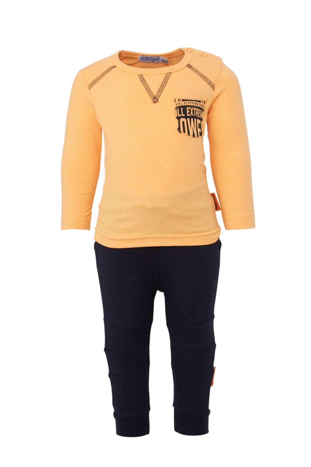 Dirkje joggingbroek met longsleeve oranje/donkerblauw, Oranje/donkerblauw