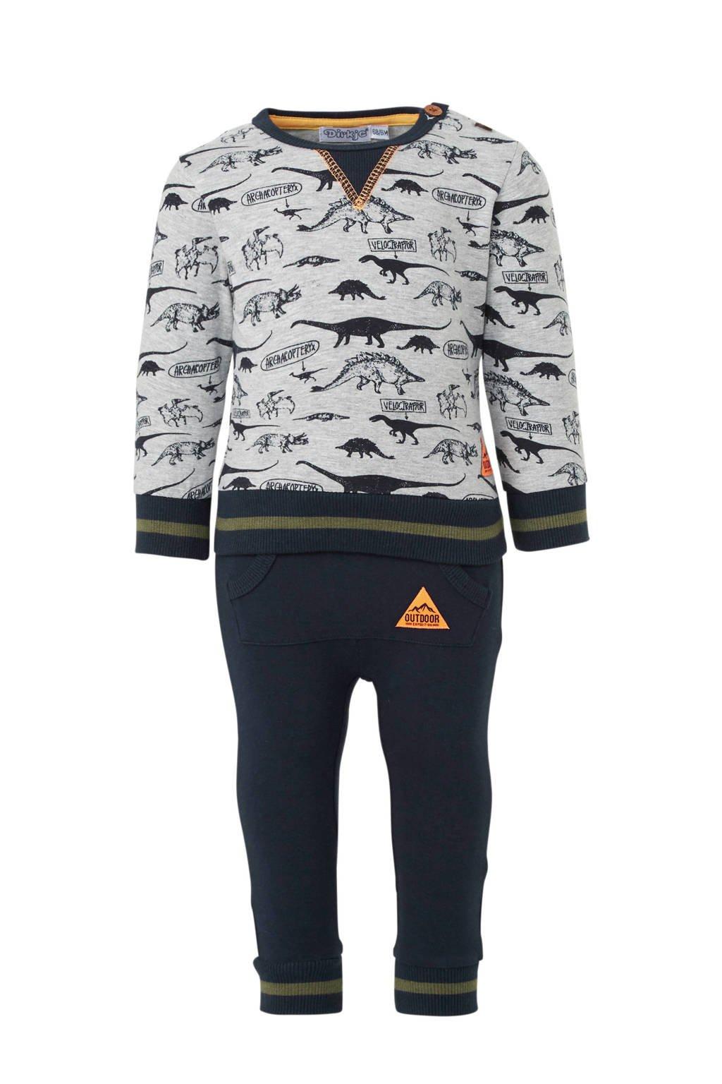 Dirkje longsleeve + joggingbroek grijs/donkerblauw, Grijs melange/donkerblauw