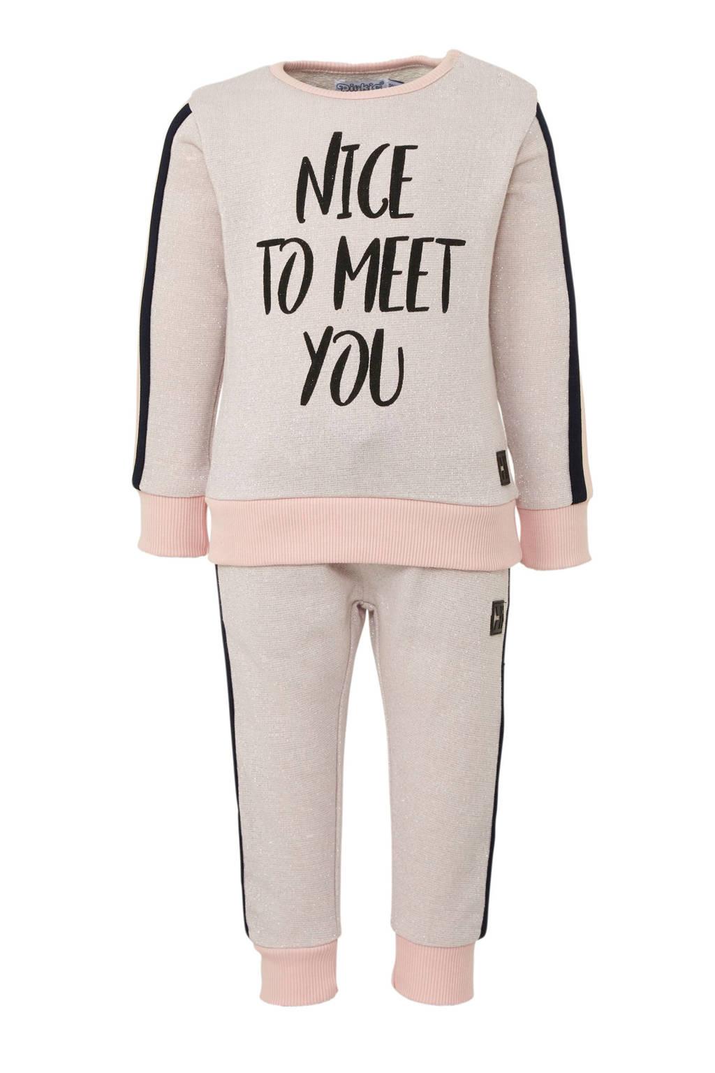 Dirkje sweater + joggingbroek met tekst roze, Roze