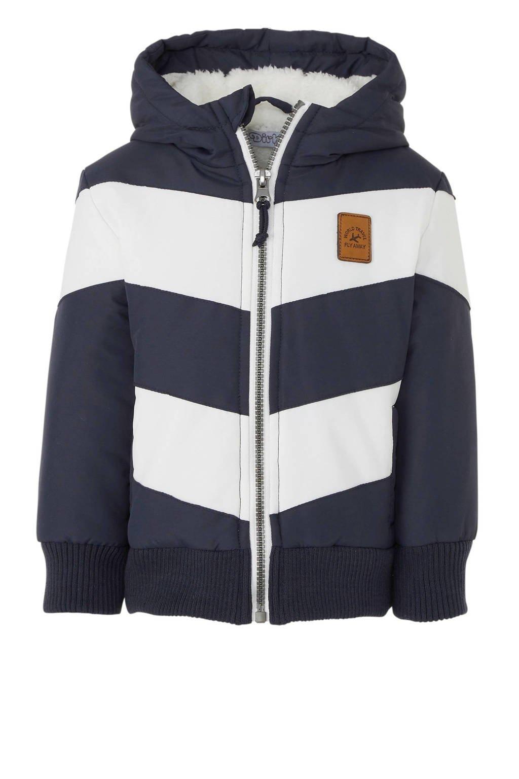Dirkje gestreepte winterjas donkerblauw/wit, Donkerblauw/wit