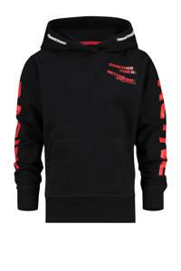 Vingino hoodie Joshua met tekst zwart, Zwart