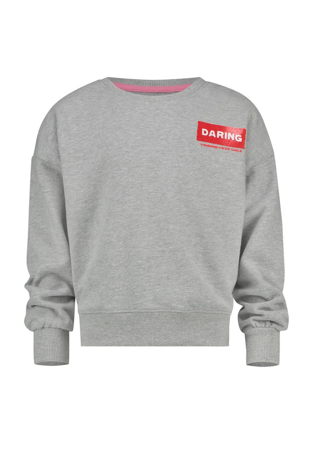 Vingino sweater Nour met printopdruk grijs melange, Grijs melange