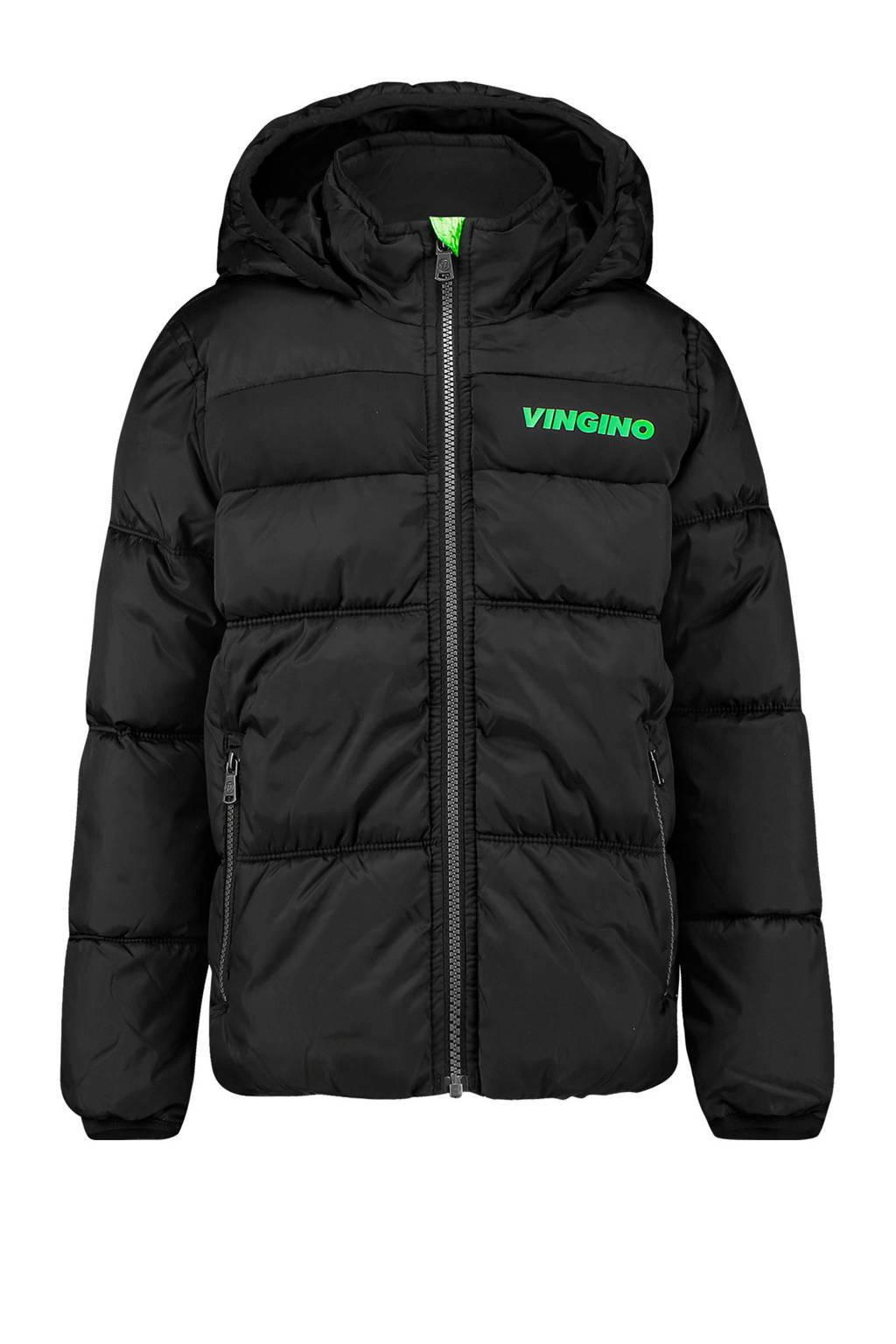 Vingino winterjas Thor met logo zwart, Zwart