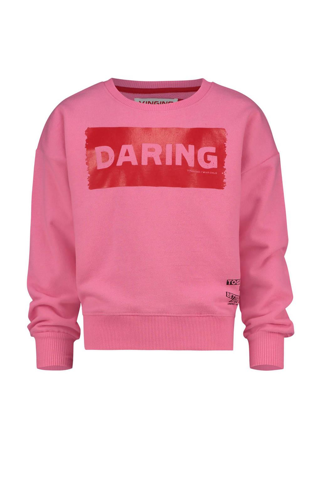Vingino sweater Nour met printopdruk roze, Roze