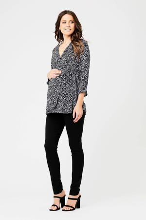 zwangerschapstop met all over print zwart/grijs