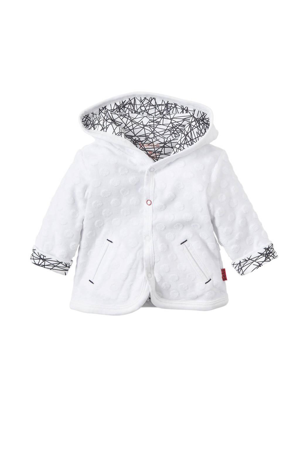 B.E.S.S newborn baby omkeerbaar vest wit, Wit/zwart