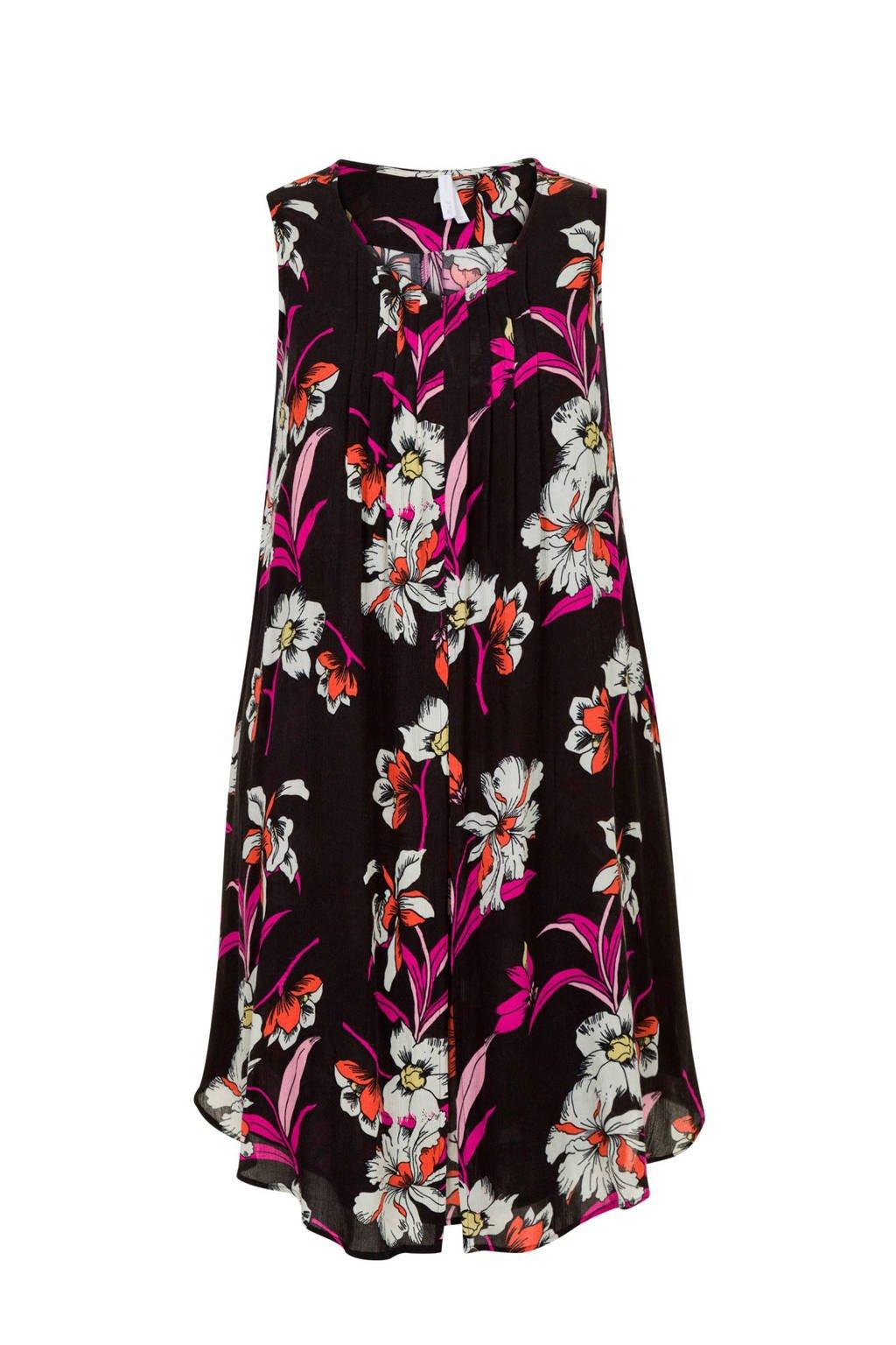 Miss Etam Plus gebloemde jurk, Zwart