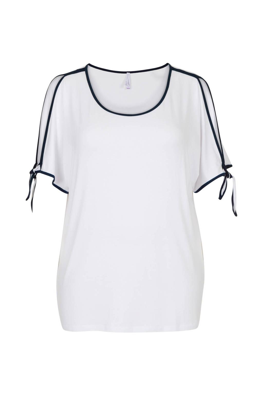 Miss Etam Plus T-shirt met zijstreep en open detail wit/zwart, Wit/zwart