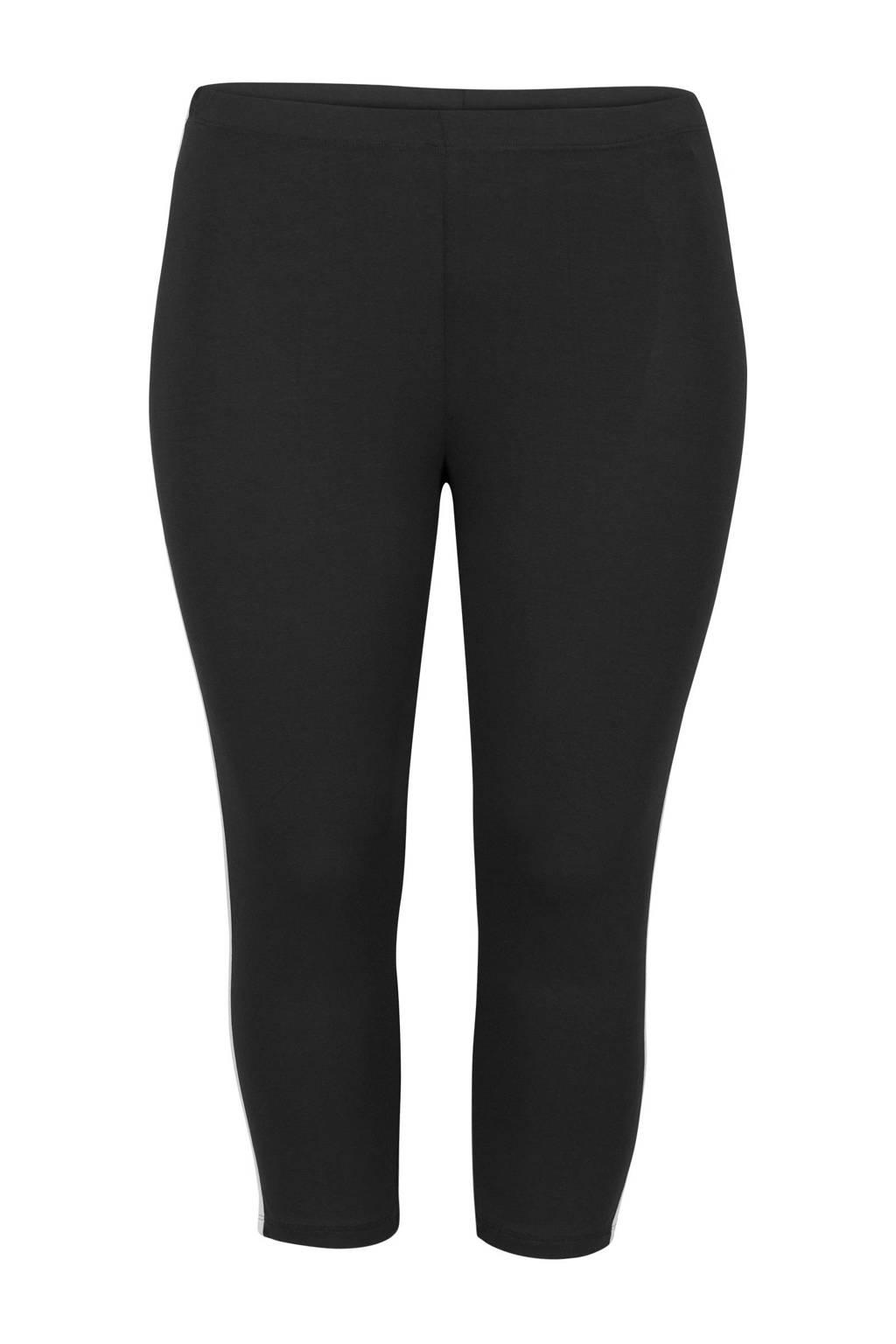 Miss Etam Plus legging met zijstreep zwart, Zwart