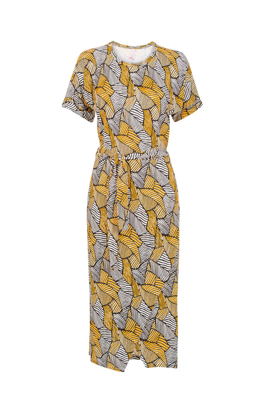 Miss Etam Regulier jurk met all over print geel, Geel