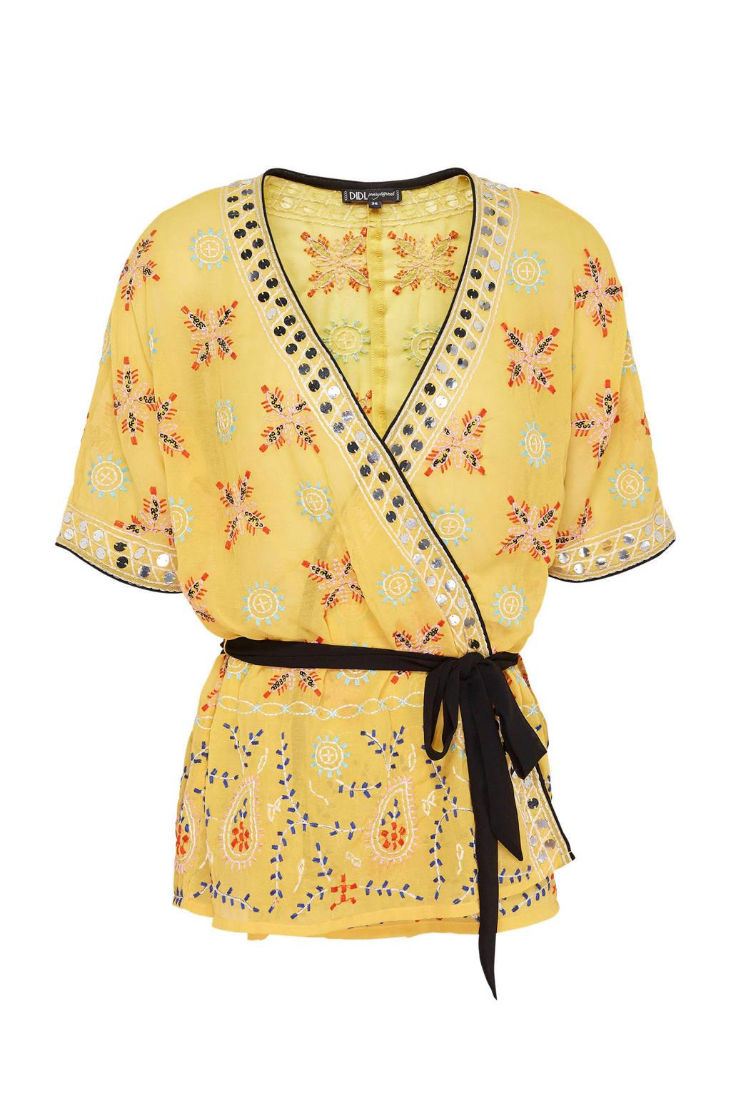 Didi kimono met grafische print geel, Geel