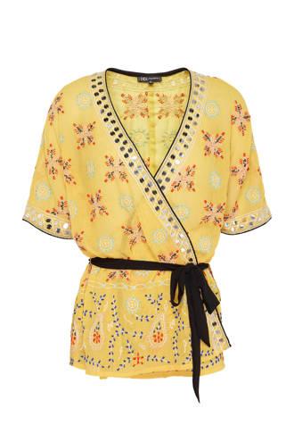 kimono met grafische print geel