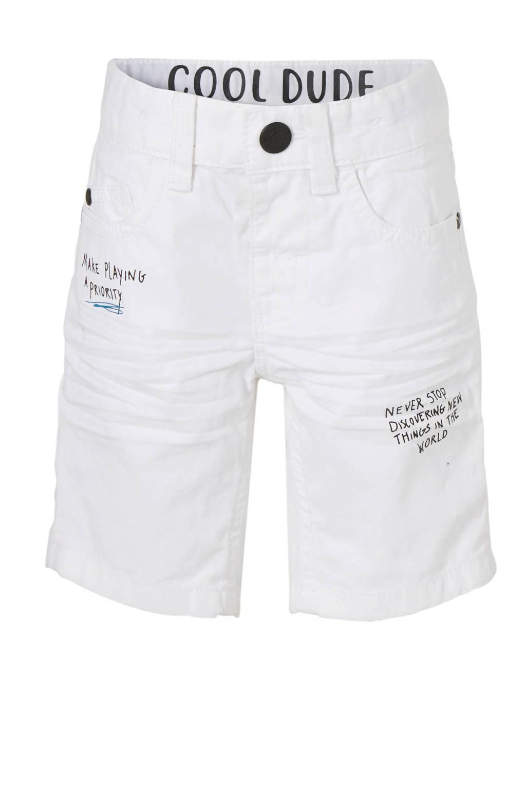 C&A Palomino straight fit jeans bermuda met tekst, Wit/zwart